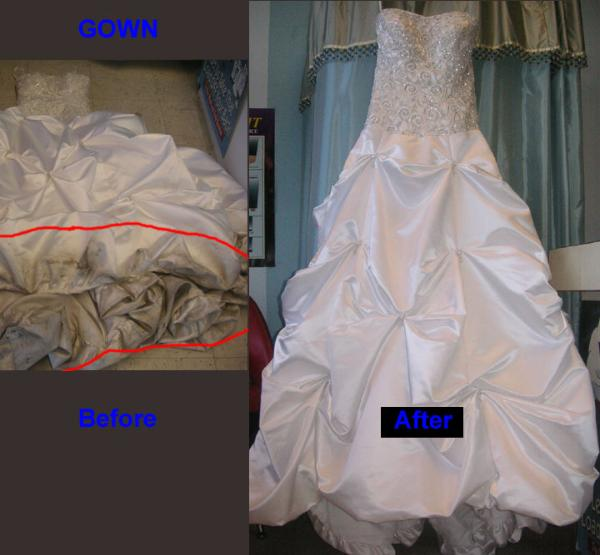 bridal gowns cleaning before after